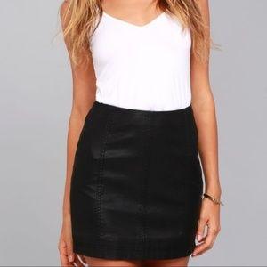 {Free People} Femme Black Vegan Leather Mini Skirt